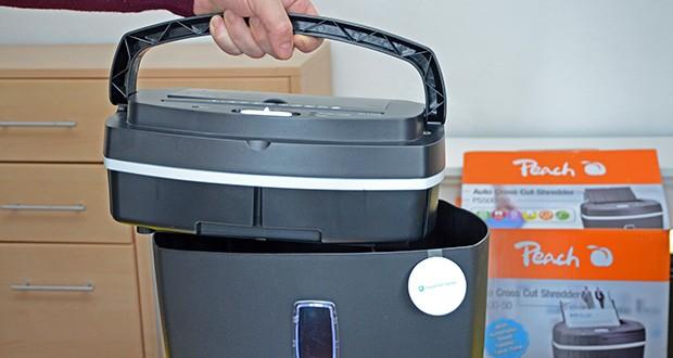 Peach Altenvernichter PS500-50 im Test - wenn der Behälter voll ist, schaltet sich der Cross Cut Shredder automatisch ab, indem sich der Aufsatz anhebt