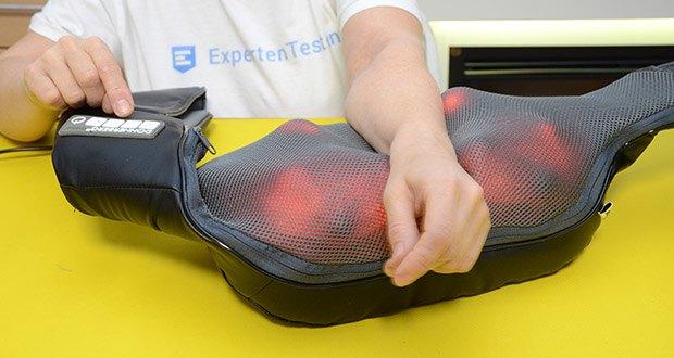Donnerberg Klopfy NM-088 Nackenmassagegerät im Test - die wohltuende Infrarotwärme unterstützt die positive Wirkung der zwei Massagetechniken zusätzlich