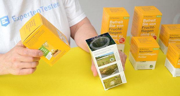Dr. Reckhaus Fruchtfliegen-Retter mit Nachfüller im Test - dieses Produkt wird in einer Werkstatt für Menschen mit Behinderung konfektioniert