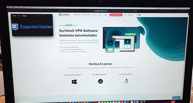 Surfshark VPN im Test - entweder aus dem App Store oder durch Anklicken der Schaltfläche unten das VPN herunterladen