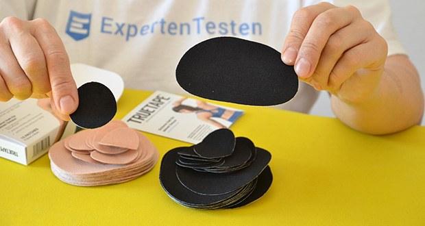 Truetape Sensorpatch Tapeverband im Test - Maße Patch: 9,5cm x 8cm, Maße nicht klebender Innenteil: 4,5cm x 3,7cm