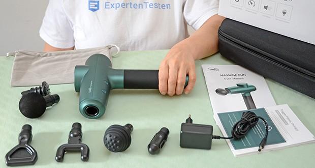 Turejo Massagepistole im Test - ausgestattet mit 6 austauschbaren Massageköpfen