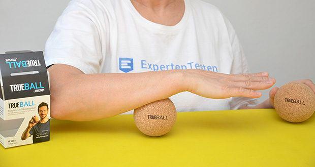 Truetape Trueball Faszienball im Test - Anwendungsgebiete: Lösen von Verspannungen und Faszienverklebungen; Warm-up und Regeneration für Sportler; Verbesserung der Beweglichkeit und der Durchblutung