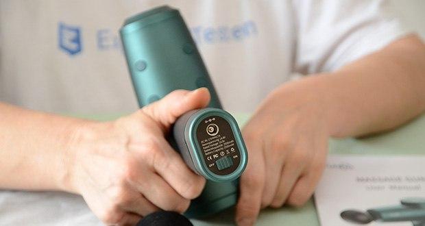 Turejo Massagepistole im Test - der Akku mit großer Kapazität kann nach dem Laden 4 bis 6 Stunden lang verwendet werden