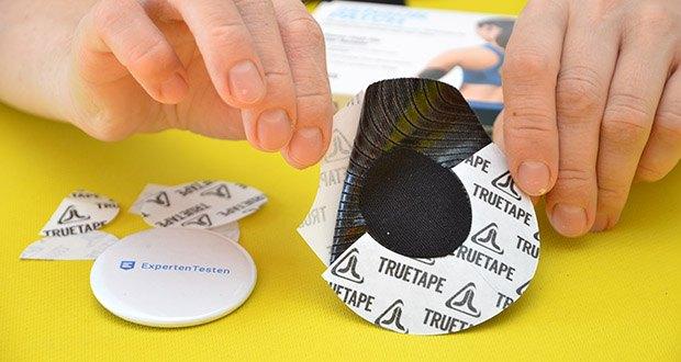 Truetape Sensorpatch Tapeverband im Test - das gewebte Baumwollmaterial erlaubt weiter vollen Empfang der Sendedaten und ist atmungsaktiv
