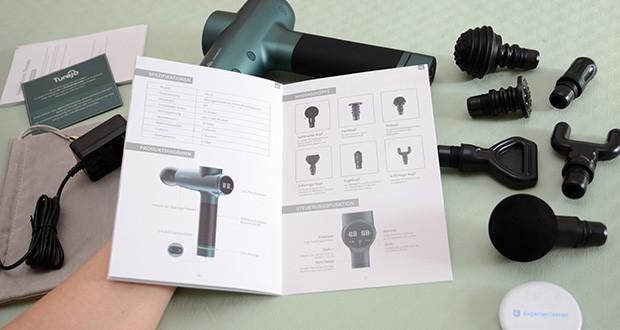 Turejo Massagepistole im Test - ist mit einer Lithiumbatterie mit großer Kapazität von 2500 mAh ausgestattet und kann nach dem Aufladen 2 Wochen lang verwendet werden