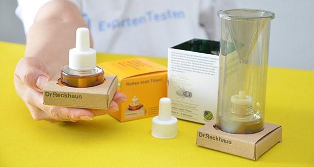 Dr. Reckhaus Fruchtfliegen-Retter mit Nachfüller im Test - wiederverwendbar mit Dr. Reckhaus Nachfüll-Lockstoff