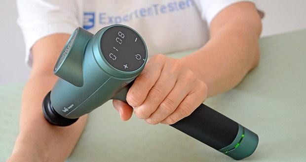 """Turejo Massagepistole im Test - drücken Sie """"+"""" oder """"-"""", um die Geschwindigkeit und Intensität von 1 auf 20 zu erhöhen oder zu verringern"""