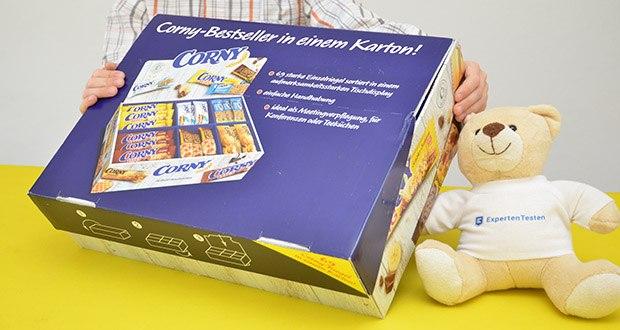 Corny Bestseller-Box mit 6 verschiedenen Klassikern im Test - toller Corny Riegel-Mix im ansprechenden snackbox-design