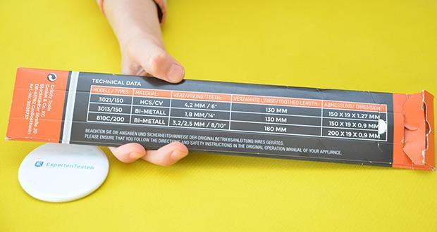 DELTAFOX 3er Pack Säbelsägeblätter im Test - enthält ein flexibles Universalblatt aus Bi-Metall für alle Holzarten mit Metallrückständen (150 mm), ein flexibles Universalblatt aus Bi-Metall für Stahl, rostfreie Stähle, Buntmetalle bis 8 mm Dicke (200 mm) sowie ein Sägeblatt für schnelle, gerade Schnitte in allen Holzarten, Kunststoff und Gipskarton bis 100mm Dicke (150 mm)