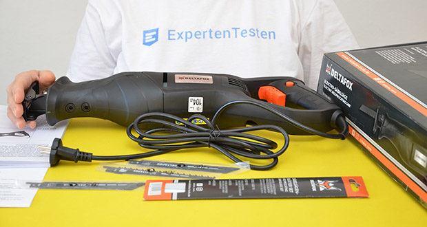 Deltafox Elektro Säbelsäge DP-ERS 8010 im Test - Lieferumfang: Säbelsäge , 3 Sägeblätter (1xHolz), (1xMetall), (1xPlastik), Betriebsanleitung