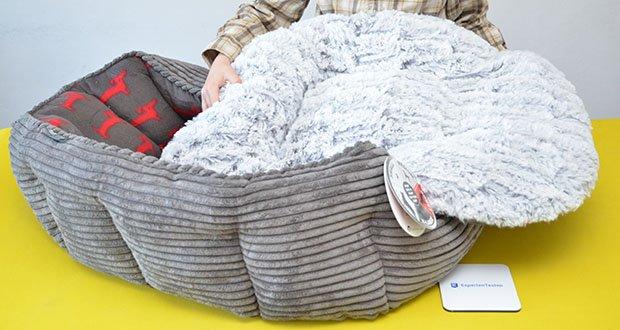 Petface Deli Hundebett aus Bambus im Test - mit einem wendbaren Bambus-Fleece-Kissen ist seine sichere und gemütliche Form perfekt für den Komfort Ihres Haustieres