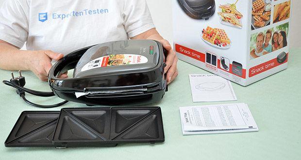 Tefal Snack Time SW341B Waffeleisen & Sandwichtoaster im Test - Lieferumfang: Tefal SW341B Snack Time, 2x Platten-Sets (Waffeln & Sandwich-Toast), Bedienungsanleitung