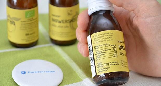 Wacker Ingwershot Bio im Test - Zutaten: Apfelsaft* naturtrüb, Ingwerstückchen* (9%), Zitronensaft* (* aus kontrolliert biologischem Landbau)