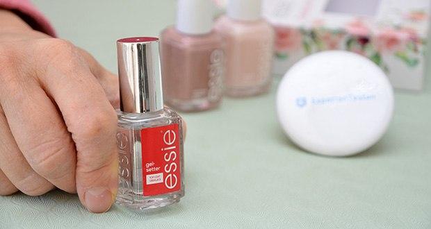 """Essie Nagellack-Geschenkset """"Goodbye Miss. Hello Mrs."""" Im Test - Top Coat gel setter: schützender Überlack für ein leuchtendes Finish in angesagter Gel-Optik"""