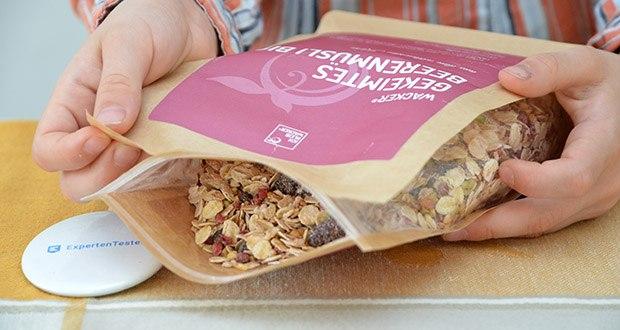 Wacker Gekeimtes Beerenmüsli Bio im Test - das Getreide in Müsli wird kontrolliert angekeimt und anschließend mit einem speziellen Verfahren getrocknet