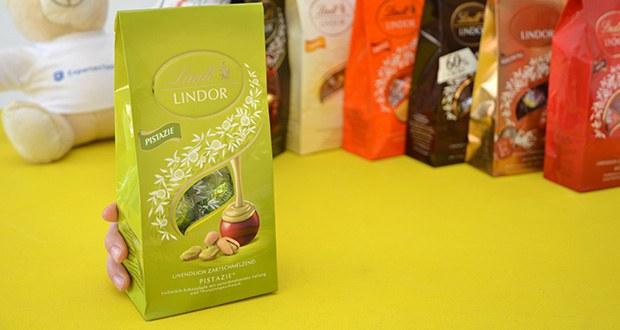 Lindt & Sprüngli Lindor Beutel Set im Test - Pistazie - Vollmilch Schokolade mit bartschmelzender Füllung und Pistaziengeschmack