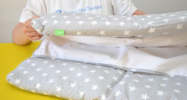 LULANDO Wickelauflage im Test - der Oberstoff der Wickelauflage besteht aus 100% hautfreundlicher Baumwolle