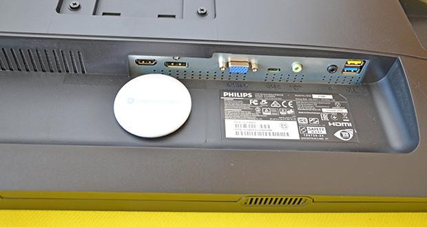 Philips 273B9 27 Zoll Monitor im Test - Anschlüsse: VGA (Analog), HDMI 1.4, DisplayPort 1.2, 1x USB-C 3.2 Gen 1 (Upstream, Stromversorgung bis zu 65 W), 4x USB 3.2 (Downstream mit 1 x Schnellaufladungs-BC 1.2)