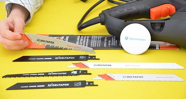 Deltafox Elektro Säbelsäge DP-ERS 8010 im Test - dank der mitgelieferten Sägeblätter für alle Anwendungen geeignet
