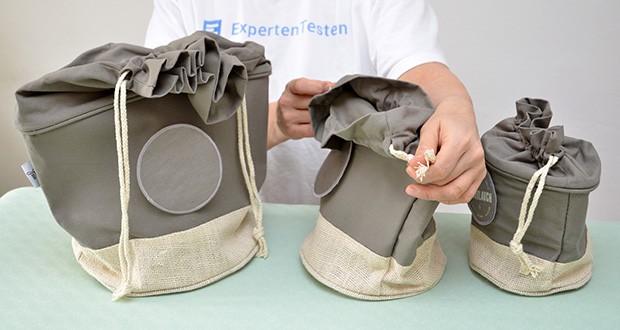 Glückstoff Aufbewahrungsbox 3er-Set aus Stoff im Test - das zeitlose beige Design im Vintage Look und Kordelzug vereint sich optisch mit deinem Haushalt