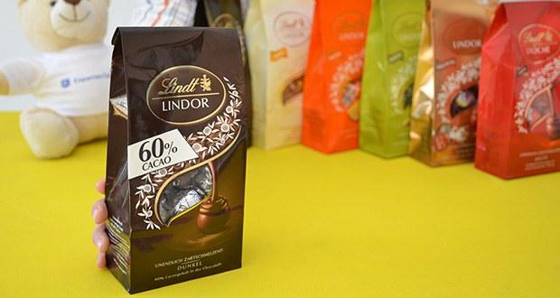 Lindt & Sprüngli Lindor Beutel Set im Test - Dunkel - 60% Cacaogehalt in der Schokolade