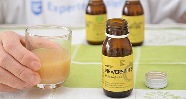 Wacker Ingwershot Bio im Test - enthält nicht einfach nur Ingwersaft, sondern frische, handgeschälte Bio-Ingwerstücke