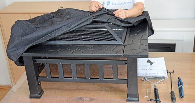 Funkenflug Feuerschale mit Grillrost im Test - inkl. Funkenschutz & Deckelhalter