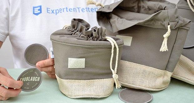 Glückstoff Aufbewahrungsbox 3er-Set aus Stoff im Test - für deine Organisation bekommst du obendrein die DIY Beschriftungs-Etiketten zum bemalen (Kreidestift) in Klein, Mittel und Groß