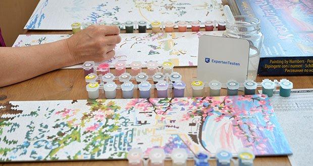 Schipper Malen nach Zahlen, Kirschblüte in Japan im Test - die Qualität wird auf die nächste Stufe gesetzt und den Gemälden ist die Maltechnik kaum anzusehen