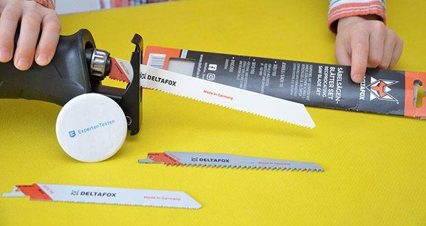DELTAFOX 3er Pack Säbelsägeblätter im Test - passen auf die Deltafox Akku-Säbelsäge DP-CRS 2022, die Deltafox Elektro Säbelsäge DP-ERS 8010 und sind kompatibel zu Geräten mit handelsüblichem Schnell-Verschluss