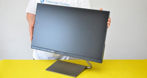 Lenovo Q24h-10 24 Zoll Monitor im Test - das edle minimalistische Design mit den schmalen 4 mm NearEdgeless-Displayrahmen an drei Seiten bietet mehr Sichtfläche und einen edlen Look