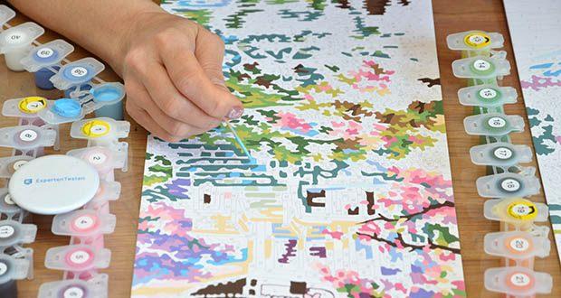 Schipper Malen nach Zahlen, Kirschblüte in Japan im Test - bekommt jeder Hobbymaler und Anfänger eine schöne Landschaft auf die Leinwand, das funktioniert ohne Vorkenntnisse zum Thema Malen