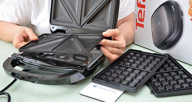 Tefal Snack Time SW341B Waffeleisen & Sandwichtoaster im Test - Maße der Platten: 226 x 132 mm