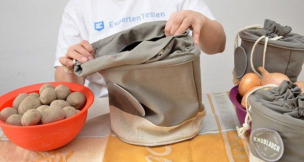 Glückstoff Aufbewahrungsbox 3er-Set aus Stoff im Test - für die Aufbewahrung von Gemüse, Obst, Kaffee-Bohnen, Tee-Beutel, Cornflakes, Nudeln uvm.