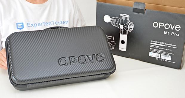 Opove M3 Pro Massagepistole im Test - mit dem Koffer für die Massagepistole können Sie das Gerät überall hin mitnehmen