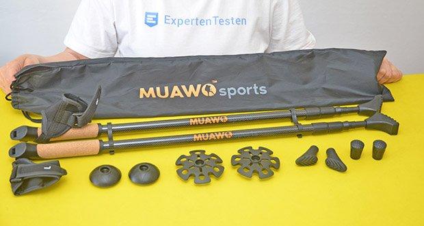 Muawo Nordic Walking Stöcke im Test - Lieferumfang: 2x Muawo Premium Nordic Walking Stöcke, 3x Verschiedene Aufsätze + 1x Carbonspitze, 1x Tasche, 2x Klick-Handschuhe