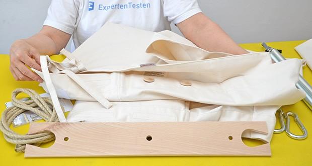 HOBEA-Germany Federwiege für Babys im Test - Stoffmaterial aus 100 % Baumwolle, Füllmaterial aus Polyester, der Spreizstab besteht aus Buchenholz