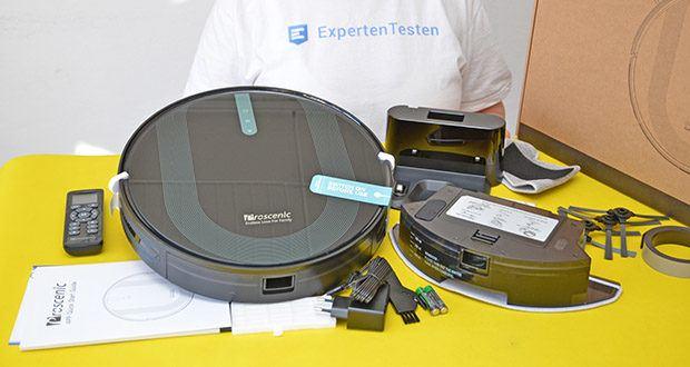 Proscenic 850T Saugroboter mit Wischfunktion im Test - Packung Inhalt: 1x Staubsauger Roboter, 2x HEPA-Filter, 2x Wischtuch, 4x Seitenbürste (2x links, 2x rechts), 1x Fernbedinung, 1x Ladegerät, 1x Staubbehälter, 1x Ladestation, 1x Magnetband