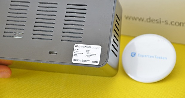 DESI-System DESI Monitor Luftquailitätsmonitor im Test - Anschlusswerte: 5 VDC Micro USB / Akkubetrieb Li-Ionen 3.000 mA/h