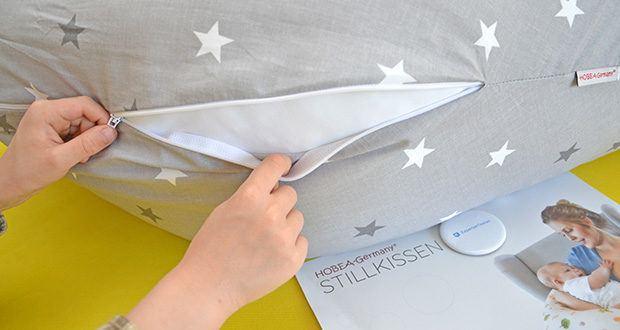 HOBEA-Germany Stillkissen XXL im Test - durch einen Reißverschluss lässt sich der Bezug abnehmen