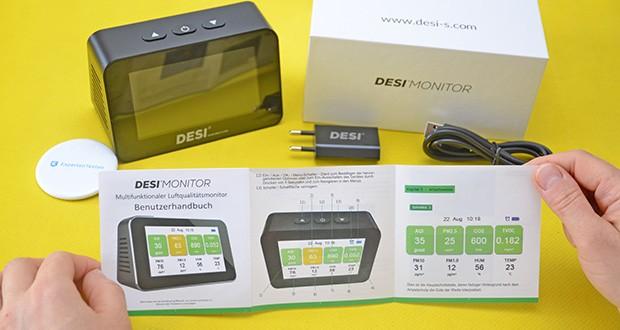 DESI-System DESI Monitor Luftquailitätsmonitor im Test - Anzeige der Luftqualität per Ampelprinzip: AQI = Luftqualitätsindex; PM1.0 / PM2.5 / PM10 = Feinstaub (0 – 999 mg/m3); CO2 = Kohlendioxid (400 – 5.000 ppm); TVOC = leicht flüchtige Fremdstoffe (0 – 9.999 mg/m3); HUM = relative Luftfeuchtigkeit (20 – 85 %); TEMP = Temperatur in °C (-10 – 60 °C)