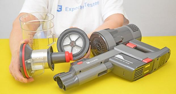 Proscenic P11 Akku Staubsauger im Test - das mehrstufiges Filtersystem besteht aus dem Metallfilter, Schwammfilter mit hoher Dichte und Hepa-Filter