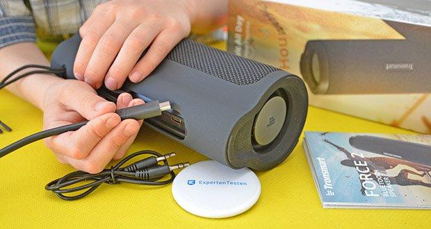 Tronsmart Force 2 Bluetooth Lautsprecher im Test - mit dem Typ- C kann der Akku in 3 Stunden vollständig aufgeladen werden