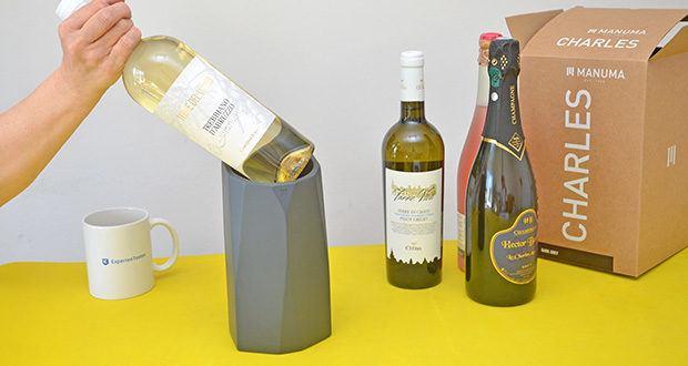 MANUMA Charles Design Weinkühler im Test - ist designed für Wein-, Schaumwein- sowie kleine Champangerflaschen mit einer maximalen Breite von 9,1 cm