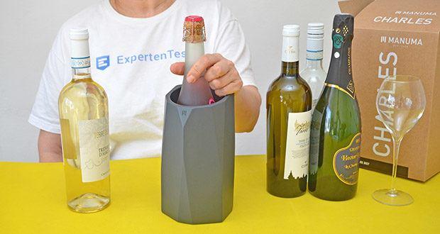 MANUMA Charles Design Weinkühler im Test - das besondere Betonmaterial nimmt die Kälte auf, speichert sie und und gibt sie im Laufe deines Abends an deinen Wein, Sekt, Champagner zurück