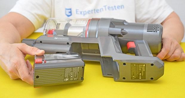 Proscenic P11 Akku Staubsauger im Test - mit dem wiederaufladbaren 8-Zellen-Lithium-Akku kann die Betriebszeit des Staubsaugers von bis zu 50 Min erreichen (am energieeffizienten Modus), oder 12 Min erreichen (am Max-Modus)