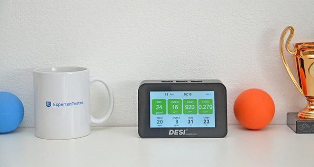 DESI-System DESI Monitor Luftquailitätsmonitor im Test - die Darstellung im Display funktioniert nach dem Ampelprinzip: Bedenkliche Werte werden rot hinterlegt, erhöhte, aber noch gute Werte gelb und unbedenkliche, exzellente Werte grün