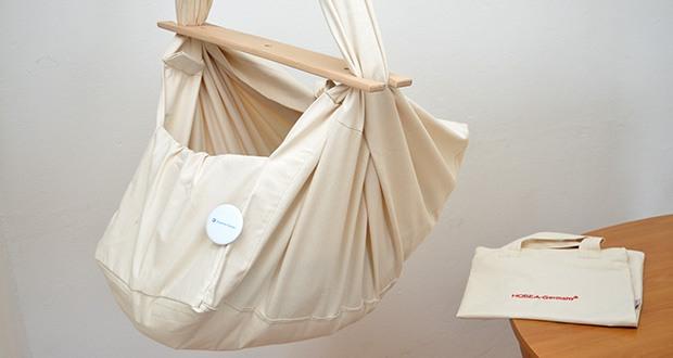 HOBEA-Germany Federwiege für Babys im Test - die Babyfederwiege ermöglicht dem Baby mit gerundetem Rücken zu liegen und somit in einer natürlichen Haltung besser entspannen und einschlafen zu können