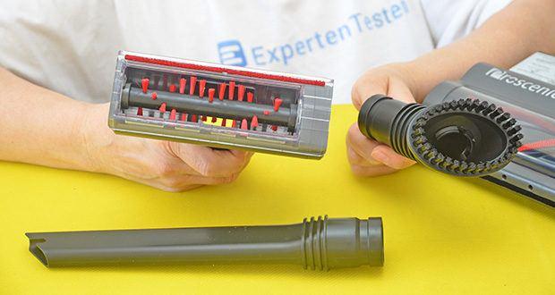 Proscenic P11 Akku Staubsauger im Test - mit dem Sägedesign an der Walzenbürste kann die Bürste Haare und Tierhaare schneiden, um zu verhindern, dass sie sich verheddern